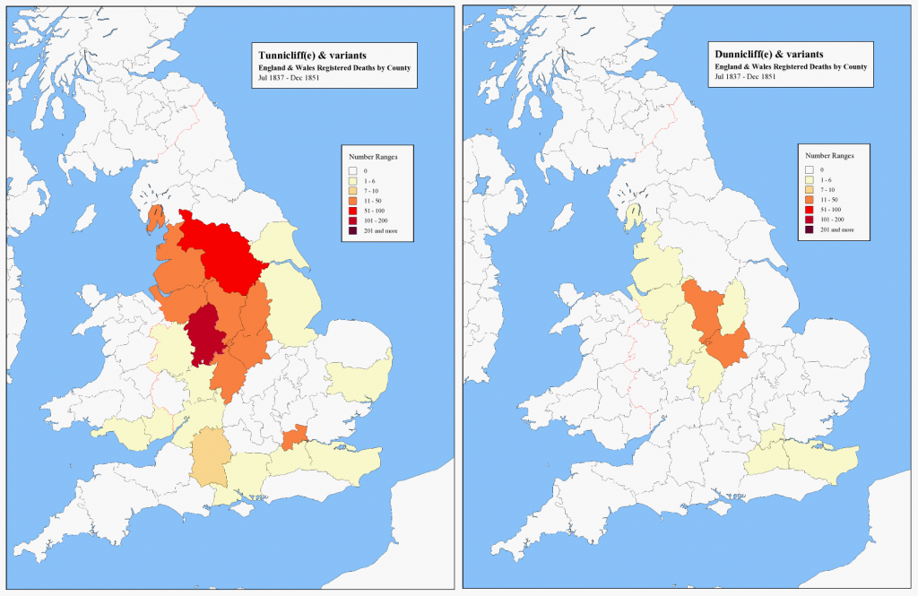 Tunnicliffe and Dunnicliffe - comparison of death registrations in England & Wales 1837-1851