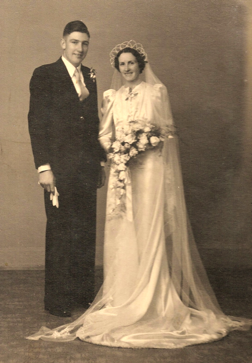 George Wright and Jean McGonnell on their wedding day, 16th November 1940.