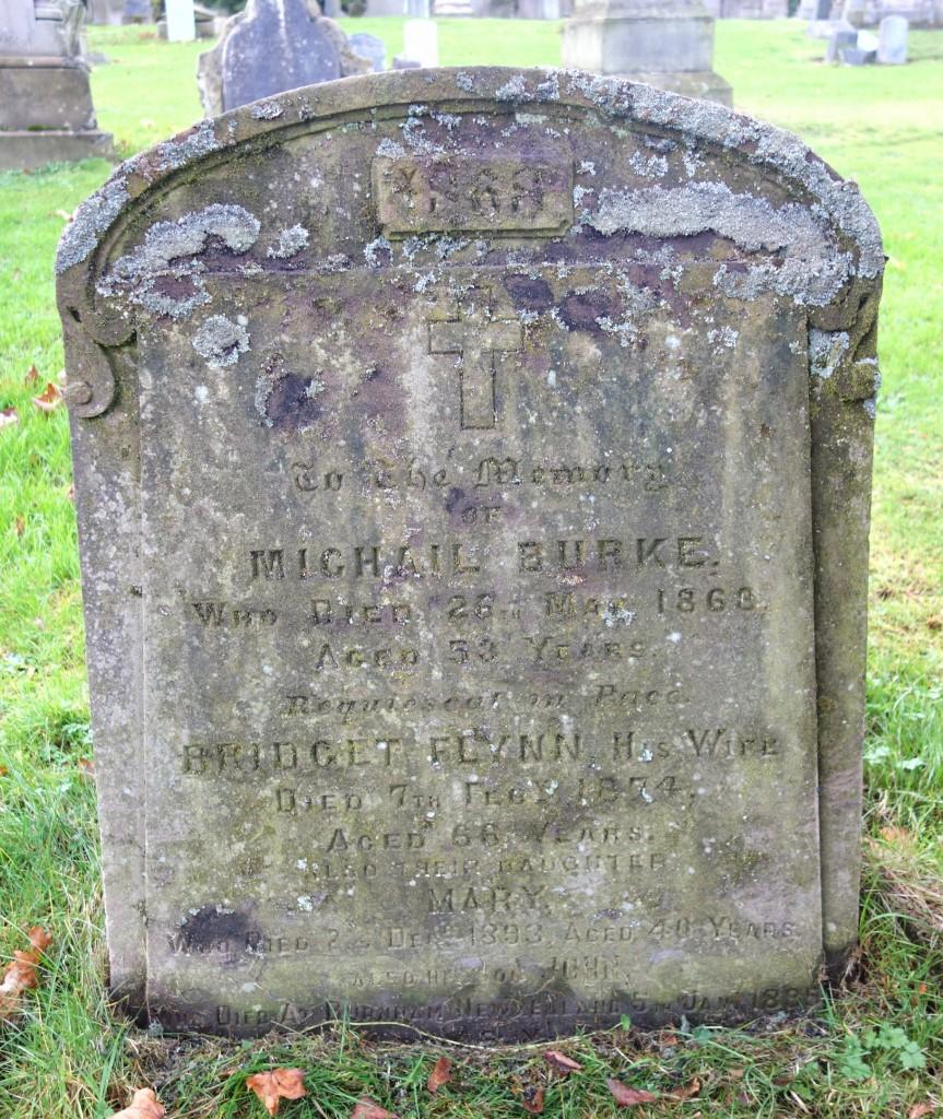 Gravestone of Michael Burke and Bridget Flynn, Wellshill Cemetery, Perth, Scotland ~ November 2015