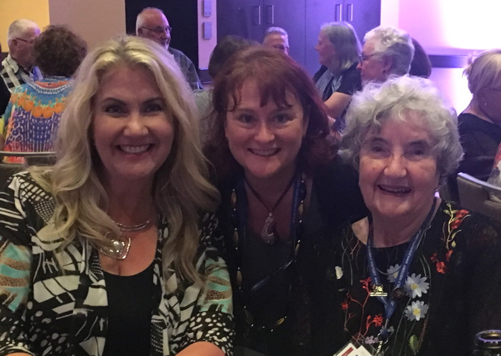 Me with genealogy heroes, Lisa Louise Cooke (left) and Jan Gow (right)
