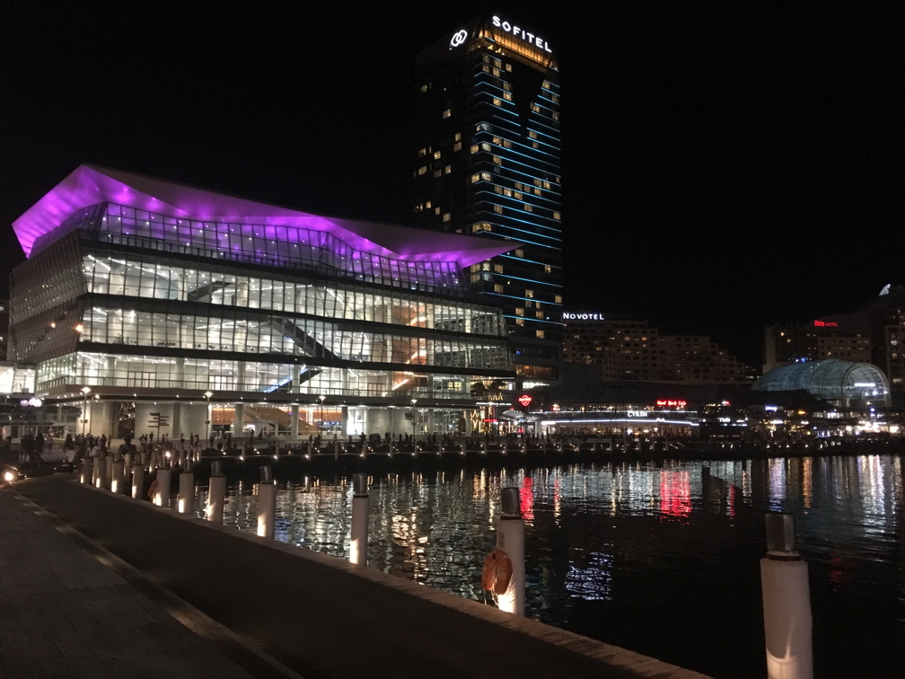 International Convention Centre, Darling Harbour, at night