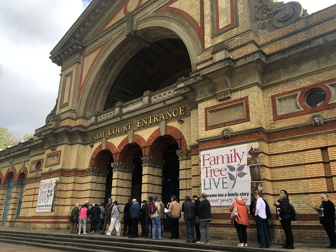Queuing up to get in to Family Tree Live, Alexandra Palace, London