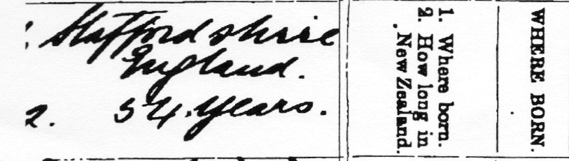 Born Staffordshire, England - detail from 1912 death register entry for George Tunnicliffe, New Plymouth.