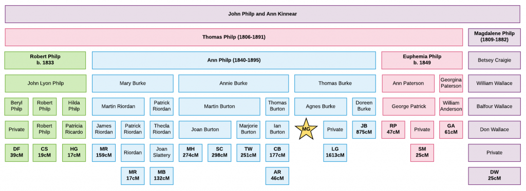 Chart showing DNA matches and centimorgans shared of the descendants of the Philp family of Fife