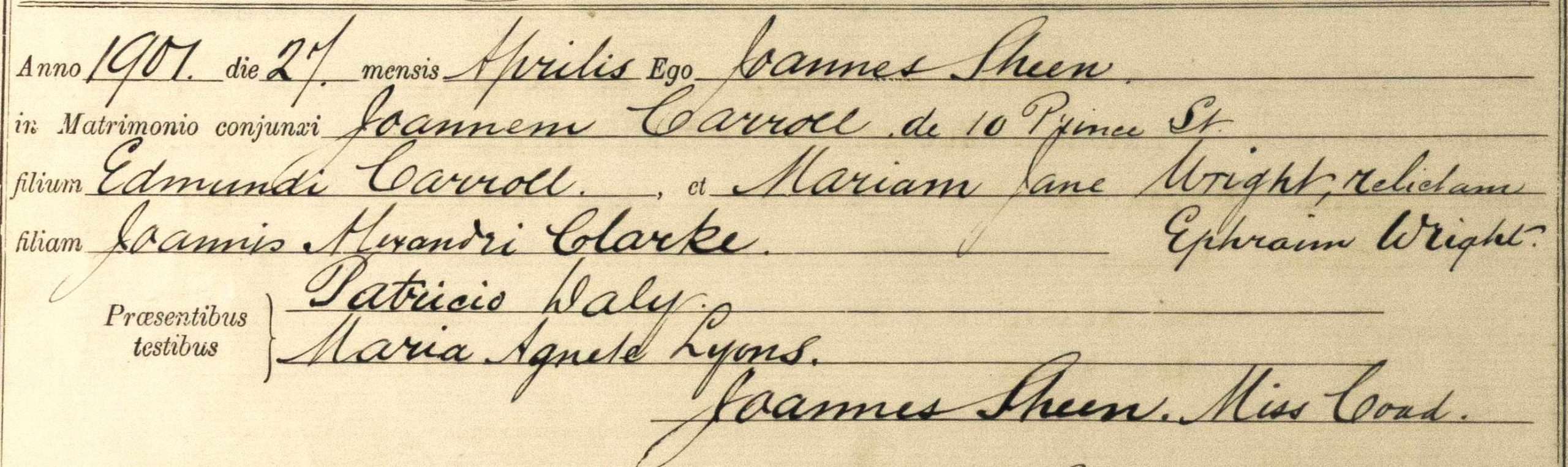 Marriage register entry for Joannem Carroll and Mariam Jane Wright, 27 April 1901, Church of the Assumption, Deptford