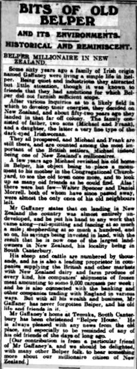 Belper Millionaire in New Zealand - article from the Belper News, 3 March 1911