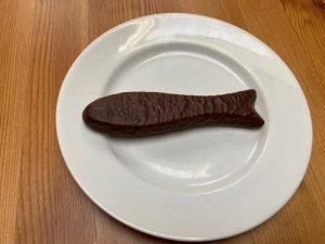 Chocolate fish, on plate